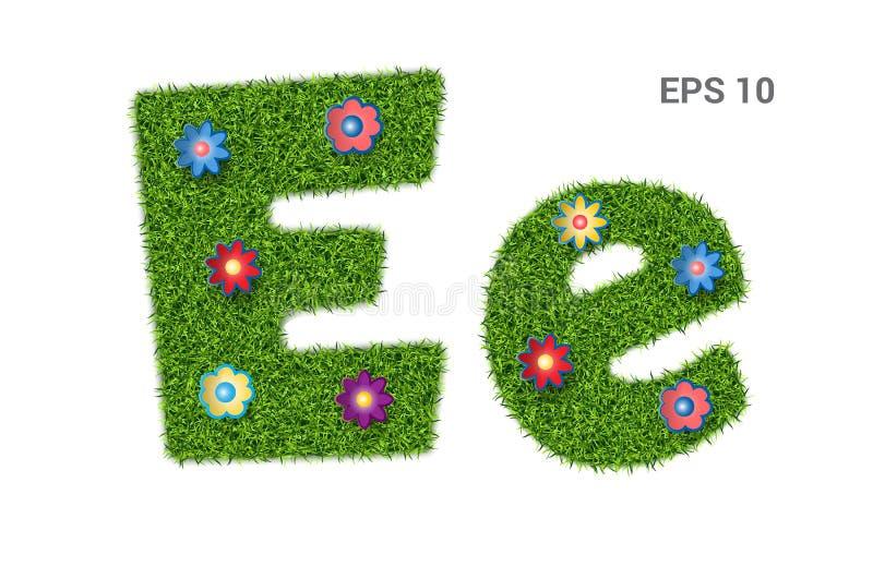 Listowy Ee z teksturą trawa i kwiaty royalty ilustracja
