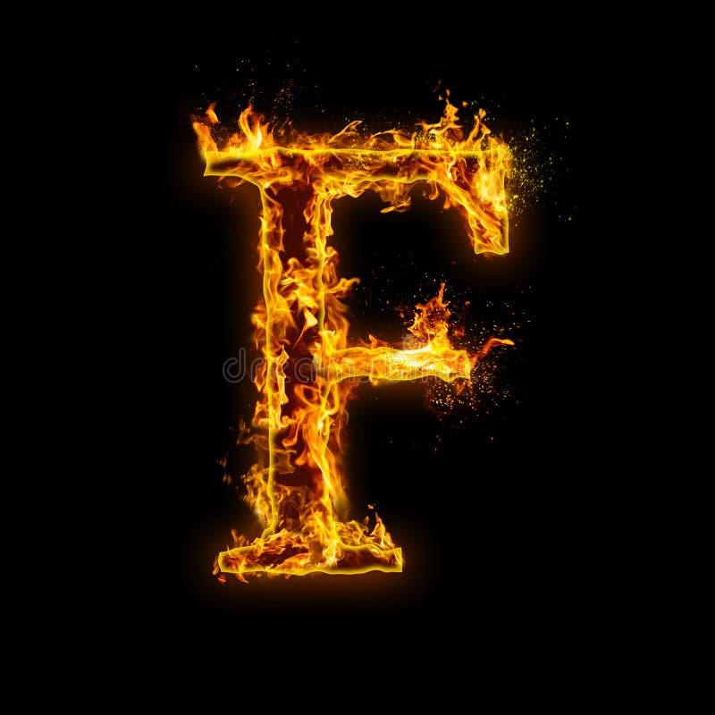 Listowy f Ogień płonie na czarnym odosobnionym tle royalty ilustracja