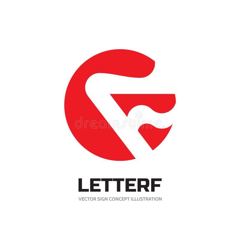 Listowy F w okręgu - wektorowa biznesowa loga szablonu pojęcia ilustracja Pożarniczego płomienia abstrakcjonistyczny symbol proje ilustracja wektor