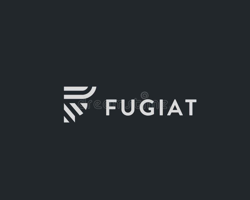 Listowy F wektoru linii logo projekt Kreatywnie minimalizmu logotypu ikony symbol royalty ilustracja