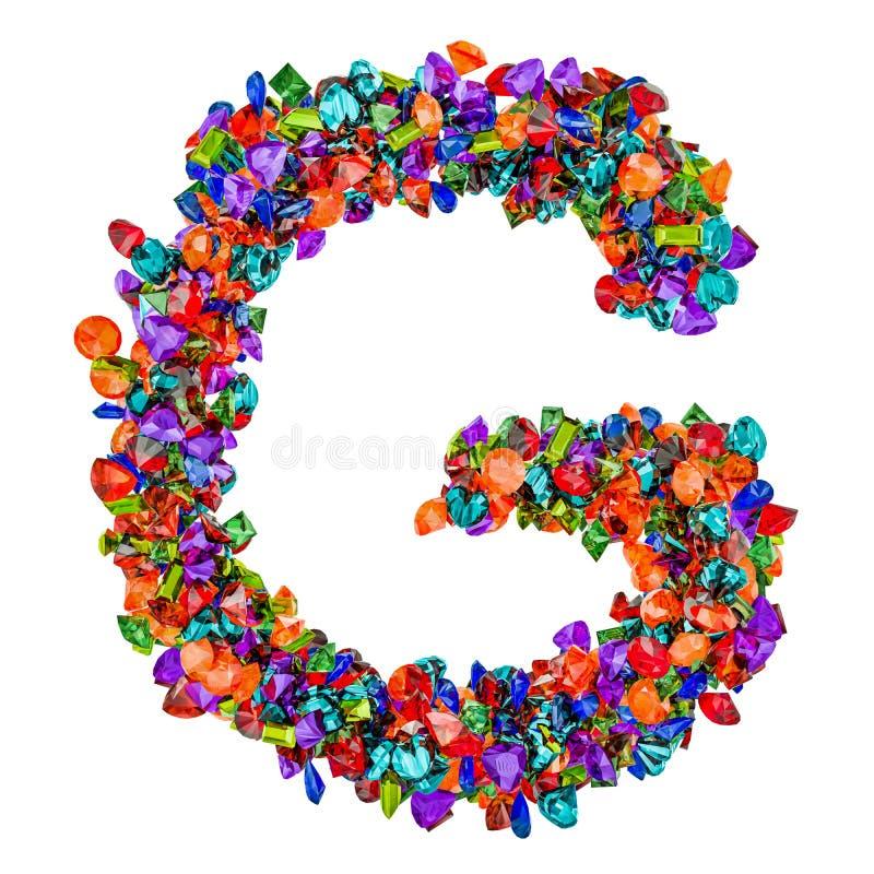Listowy G od barwionych gemstones ?wiadczenia 3 d ilustracji