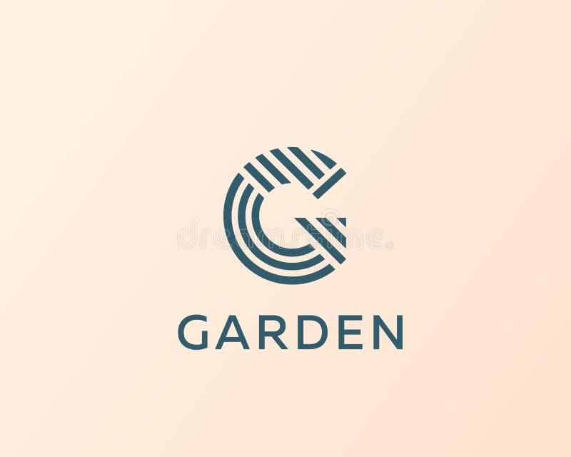 Listowy G wektoru linii loga projekt Kreatywnie minimalizmu logotypu ikony symbol ilustracja wektor