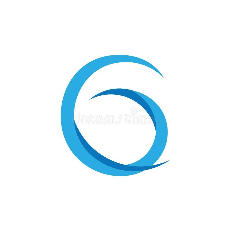 Listowy g wygina się błękita loga falowego wektor ilustracji