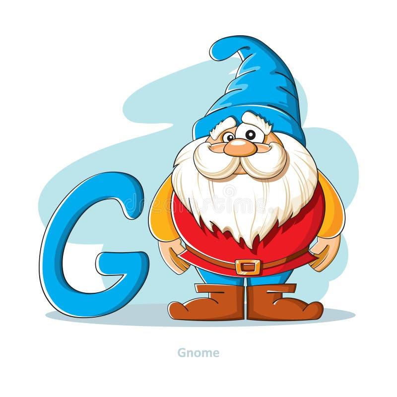 Listowy G z śmiesznym gnomem royalty ilustracja