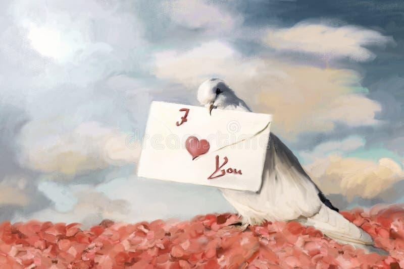 listowy gołąbka biel ilustracja wektor