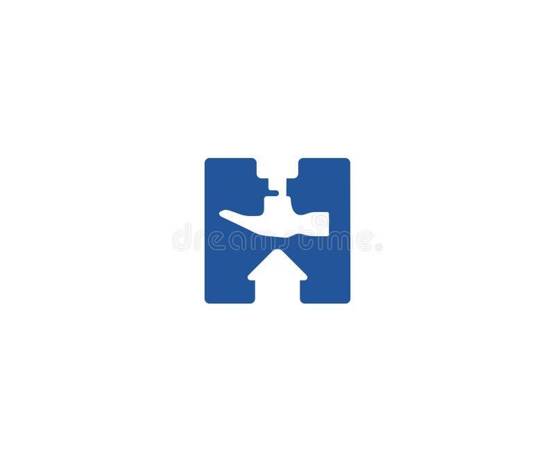 Listowy H i budowy loga szablon Młoteczkowy i domowy wektorowy projekt ilustracja wektor