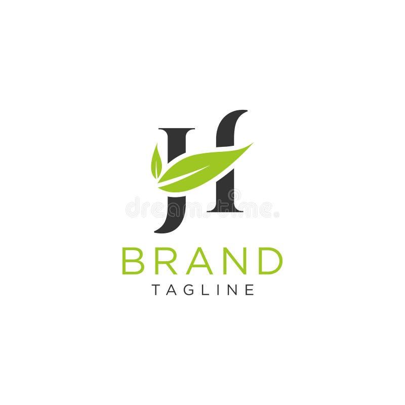 Listowy H logo natury projekt z liścia wektorowym zielonym kolorem royalty ilustracja