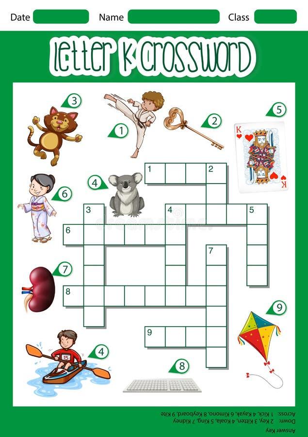 Listowy k crossword pojęcie ilustracji