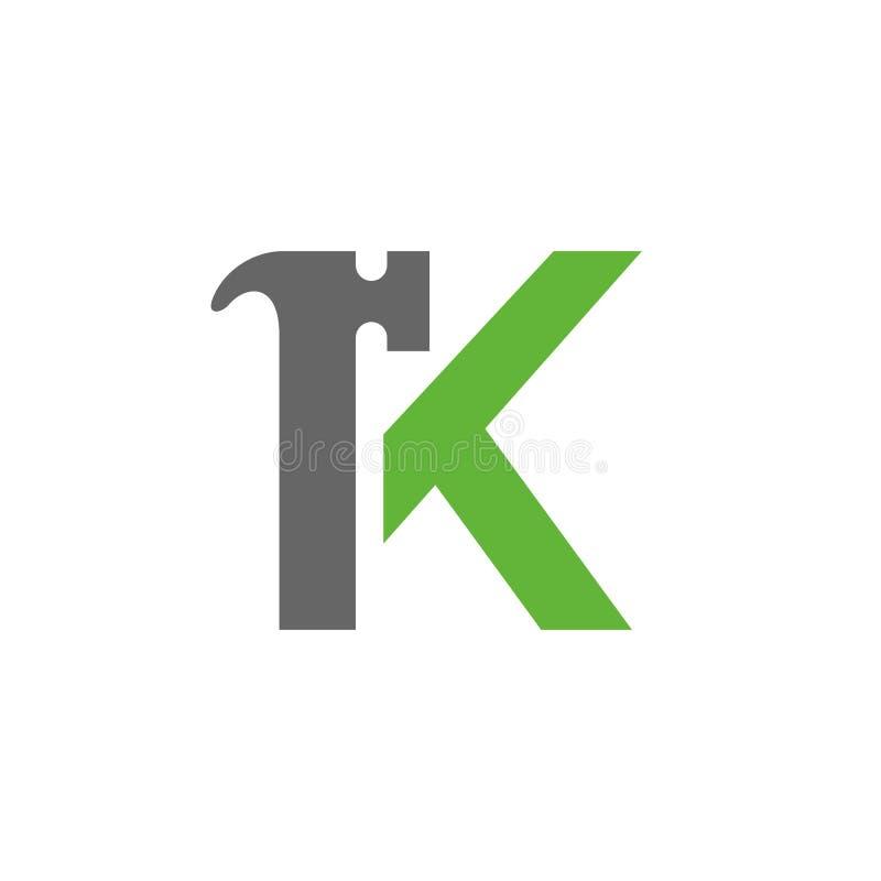 Listowy K młota logo K Listowego projekta wektor Zieleń i Siwieje kolor ikonę ilustracji