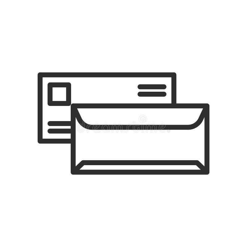 Listowy Kopertowy ikona wektoru znak i symbol odizolowywający na białych półdupkach royalty ilustracja