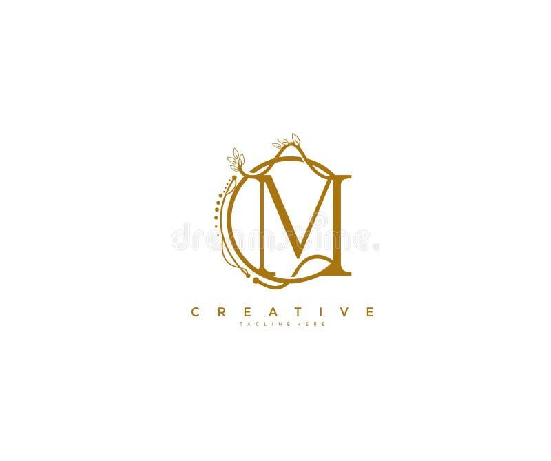 Listowy Kwiecisty monogram Zaokrąglający M logo Ozdobny Elegancki projekt ilustracji
