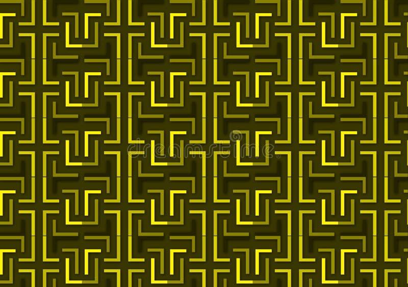 Listowy L wzór w różnych barwionych zieleni i koloru żółtego cieniach ilustracji