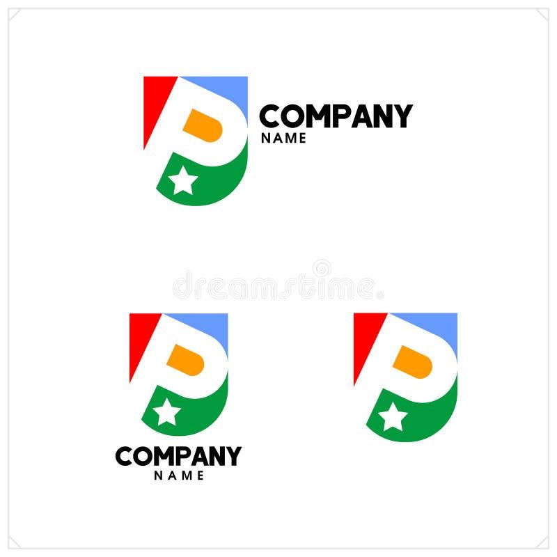 listowy logo p Minimalistic logo reative projekt royalty ilustracja