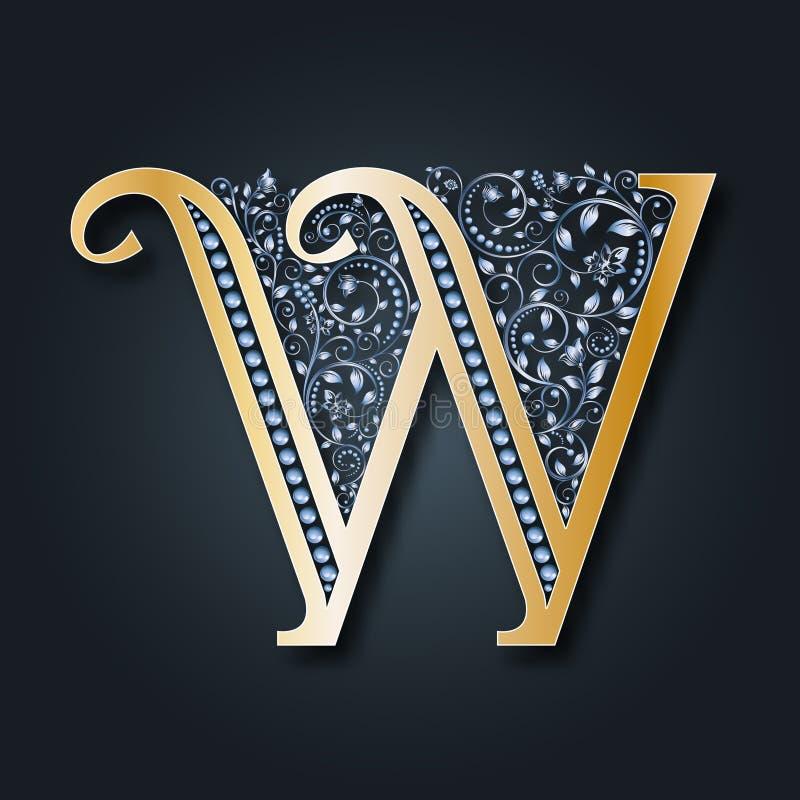 Listowy logo W wektor ABC Złoty abecadło na ciemnym tle ilustracji