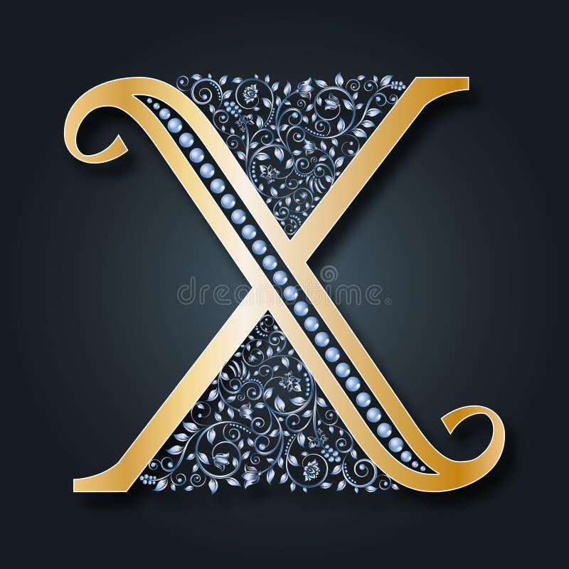 Listowy logo X wektor ABC Złoty kwiecisty abecadło na ciemnym tle ilustracja wektor