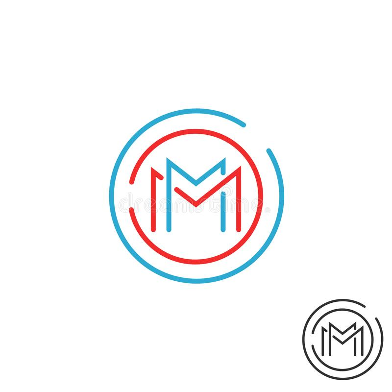 Listowy M logo okręgu ramy monogram, graficznej techniki geometryczny kształt, mockup round granicy projekta kreskowy elementu, c ilustracja wektor