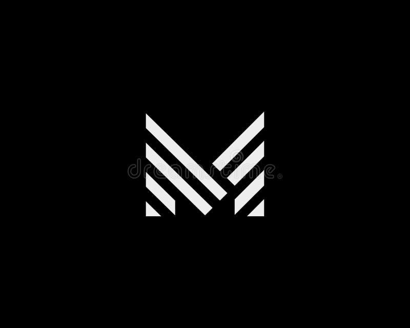 Listowy M wektoru linii logo projekt Kreatywnie minimalizmu logotypu ikony symbol ilustracja wektor