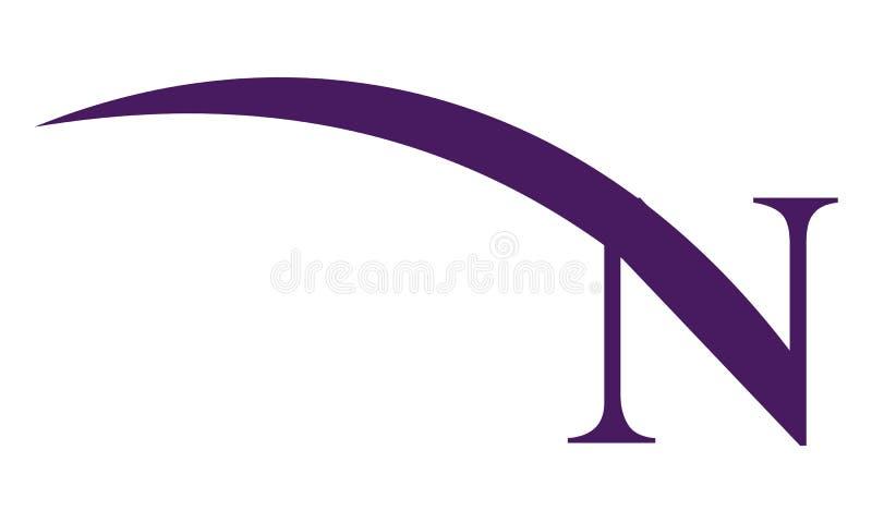 Listowy N Nowożytny logo ilustracji