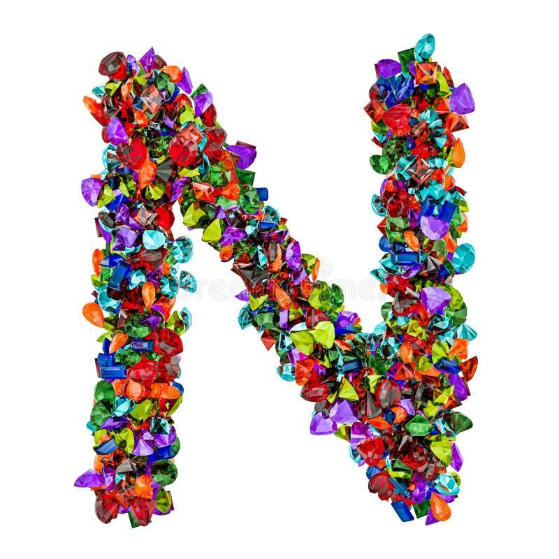 Listowy N od barwionych gemstones świadczenia 3 d ilustracji