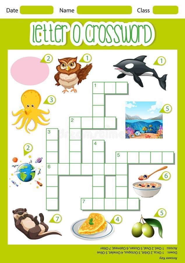 Listowy O crossword szablon ilustracja wektor