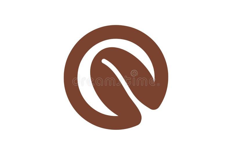 Listowy O i nasieniodajny kawowych fasoli logo Projektujemy inspirację Odizolowywającą na Białym tle ilustracja wektor