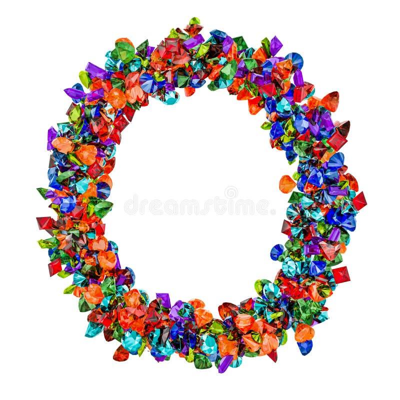 Listowy O od barwionych gemstones ?wiadczenia 3 d ilustracja wektor
