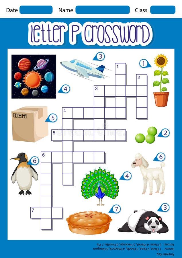 Listowy P crossword pojęcie ilustracja wektor