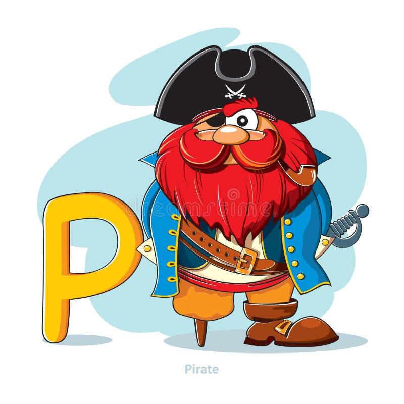 Listowy P z śmiesznym piratem ilustracja wektor