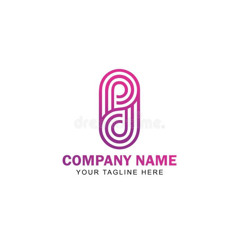 Listowy PD Kreskowej sztuki logo projekta wektor royalty ilustracja
