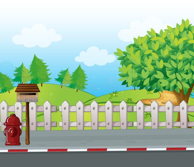 Listowy pudełko i pożarniczy hydrant ilustracja wektor