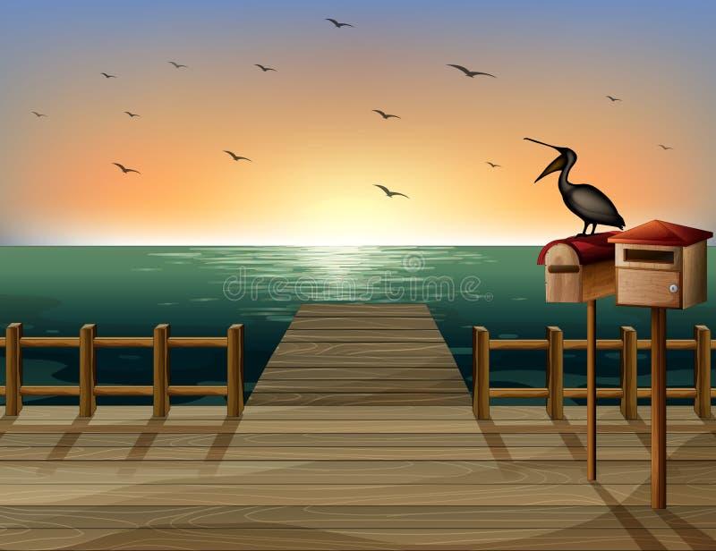 Listowy pudełko i port morski ilustracja wektor