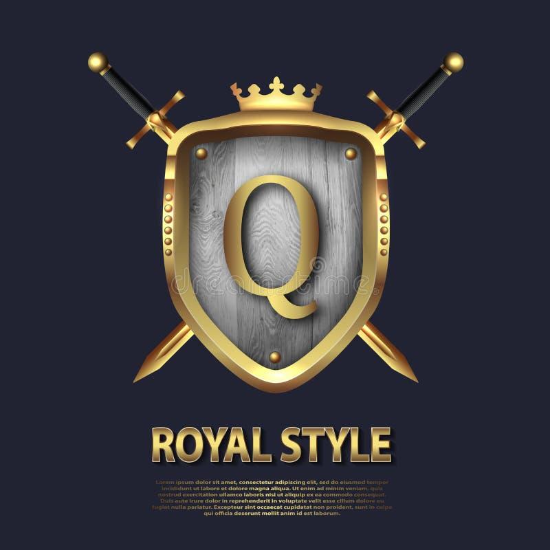 Listowy Q, dwa krzyżującej osłony z koroną i kordziki i Listowy projekt w z?ocistym kolorze dla u?ywa jako heraldyczny symbol w?a ilustracji