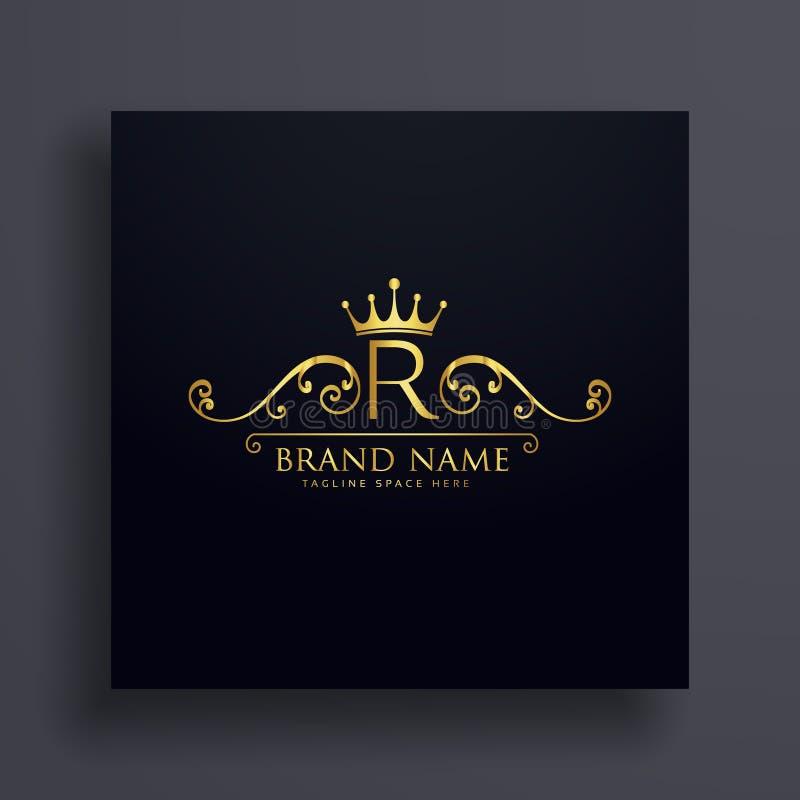 Listowy R logo z złotą koroną i kwiecistą dekoracją royalty ilustracja
