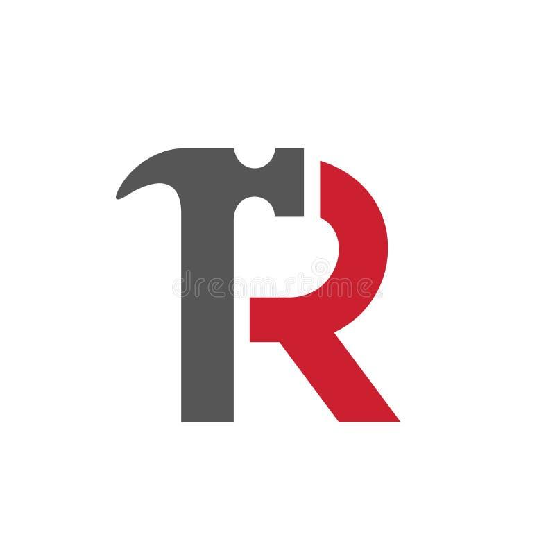 Listowy R młota logo, Wektorowa ilustracja ilustracji