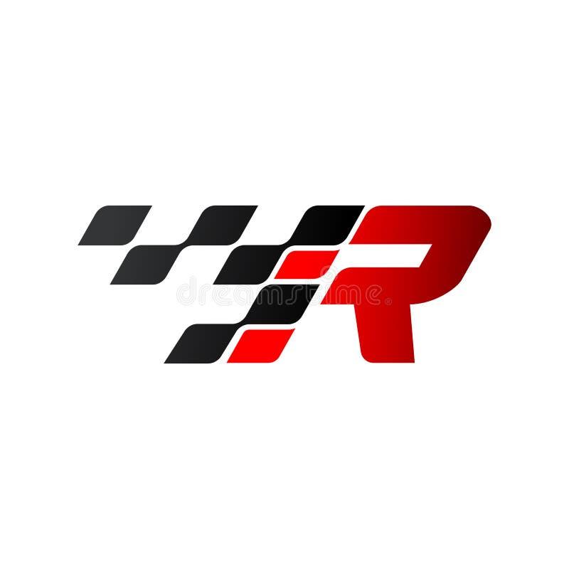 Listowy R z bieżnym chorągwianym logo royalty ilustracja