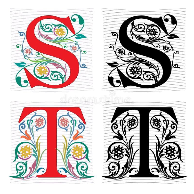 Listowy S, T, kolor i monochrom, royalty ilustracja