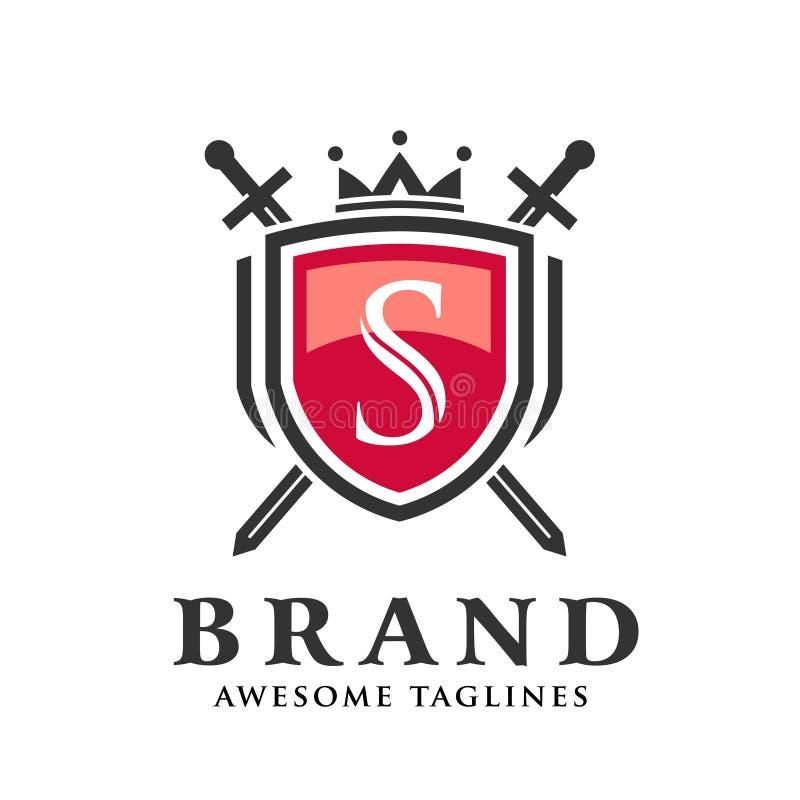 Listowy S z dwa krzyżował kordziki, osłona z korona logo royalty ilustracja