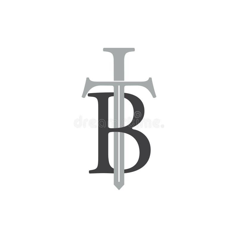 Listowy tb kordzika projekta logo wektor ilustracja wektor