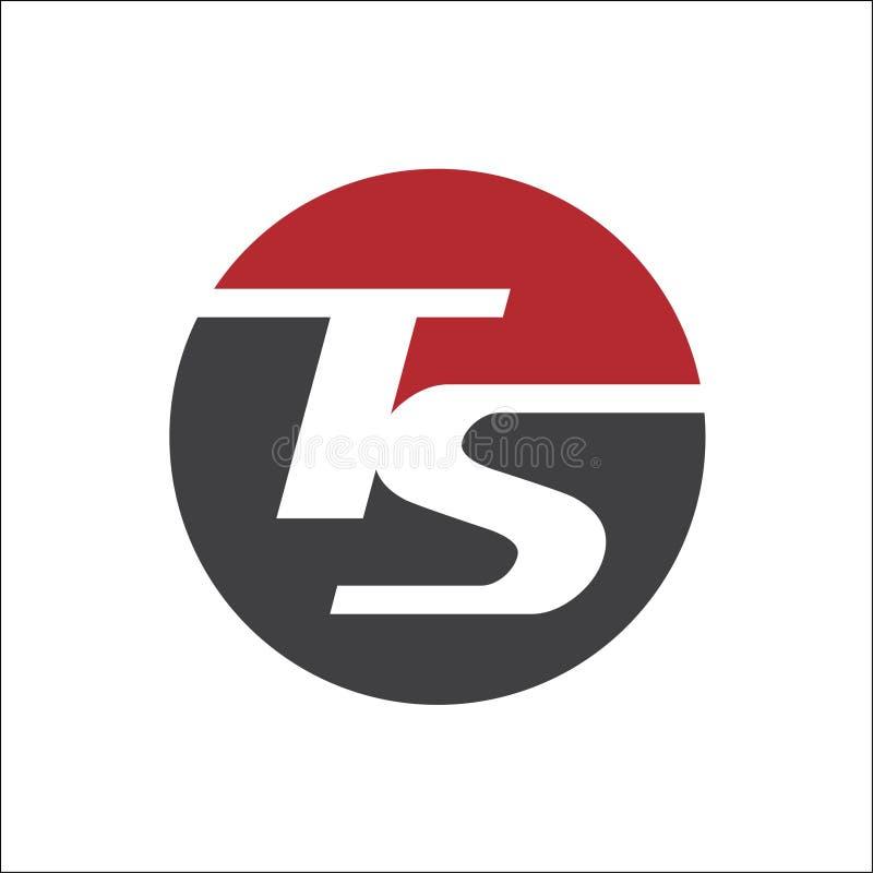 listowy TS inicjałów okręgu logo wektoru szablon ilustracja wektor