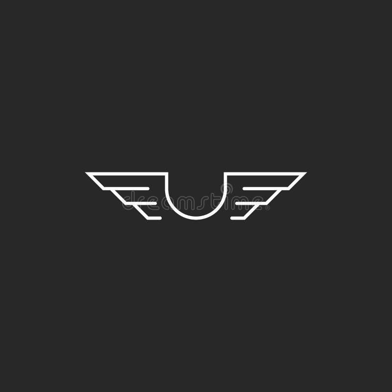 Listowy U monogram uskrzydla logo mockup, cienki kreskowy projekta element, kreatywnie pomysłu latający emblemat ilustracja wektor
