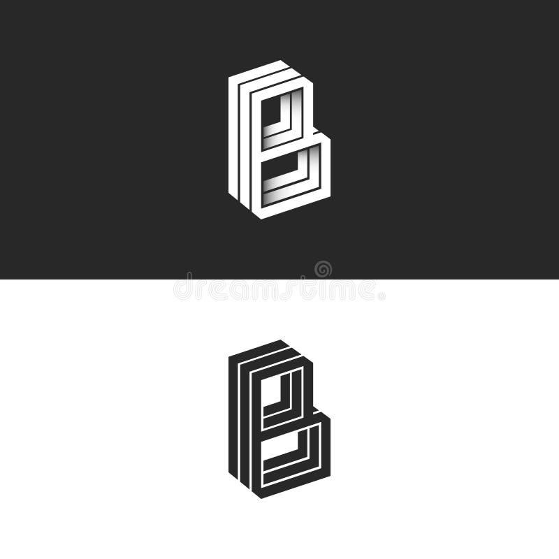 Listowych b logo isometric linii kształta modnisia geometryczny monogram, prostej liniowej typografii czarny i biały emblemat, 3D ilustracji