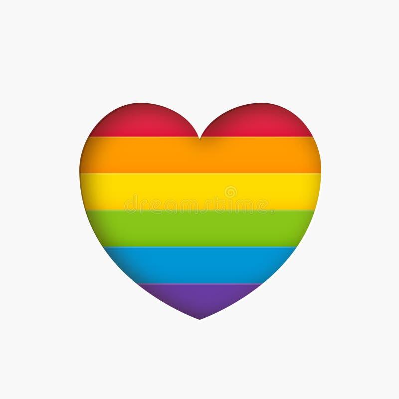 Listra da cor do arco-íris do sinal do lgbt do coração Símbolo cortado de papel do amor do conceito da forma do coração da bandei ilustração stock