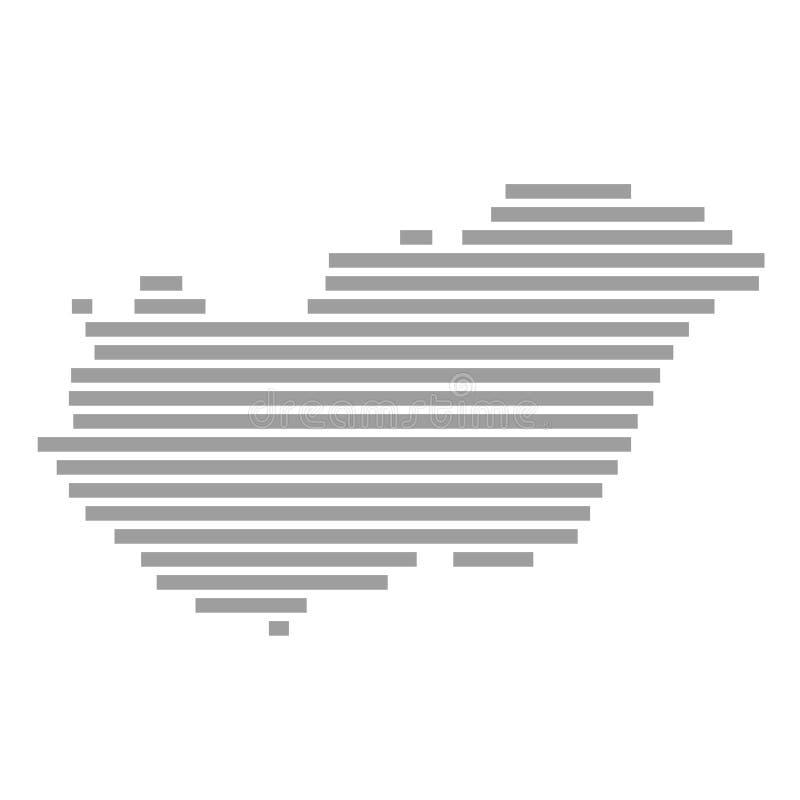 Listra o mapa de Hungria ilustração stock