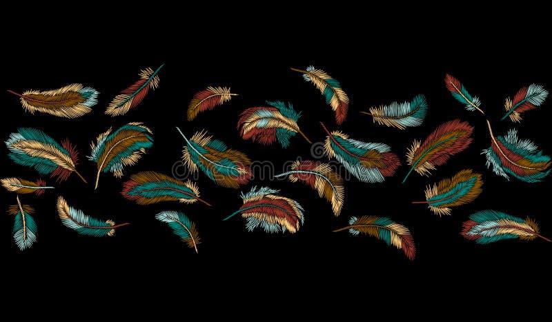 Listra sem emenda da beira do bordado colorido das penas O clássico indiano do pássaro da roupa tribal de Boho bordou o fundo ilustração stock