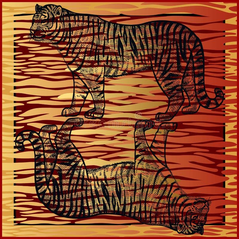 Listras africanas do tigre e da pele Cópia animal ilustração stock