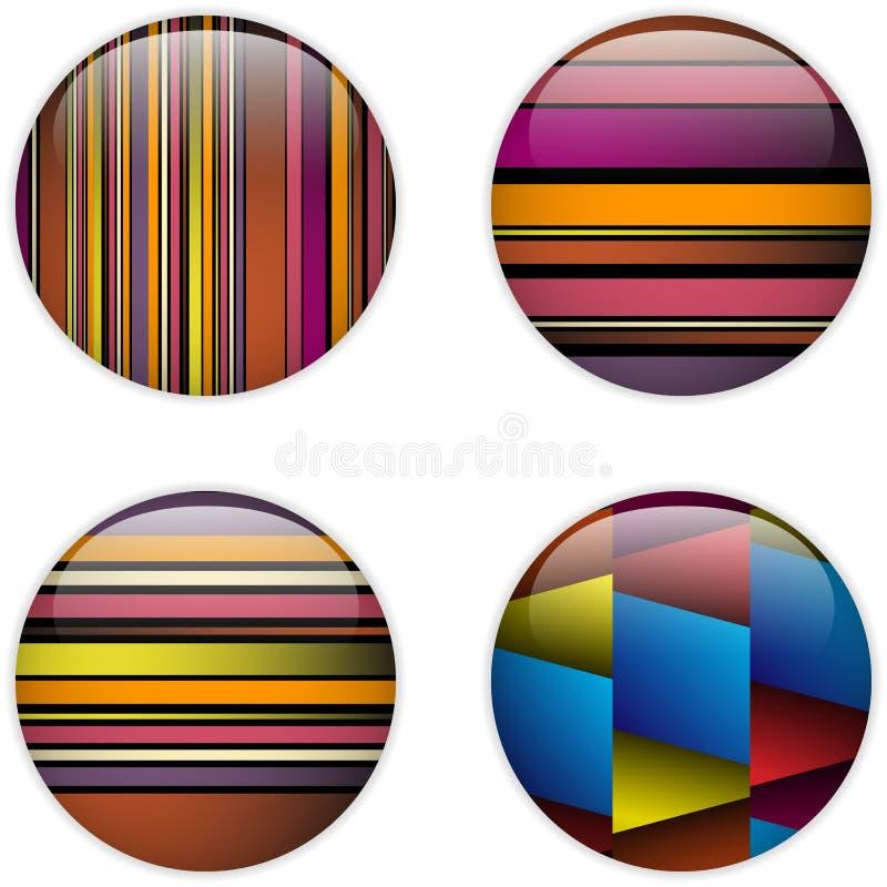 Listras coloridas da tecla de vidro do círculo ilustração stock