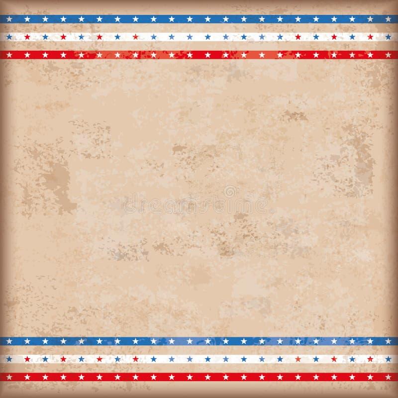 Listras da estrela dobro dos EUA do fundo do vintage ilustração royalty free