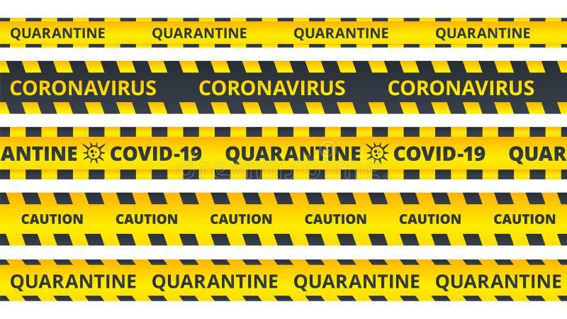 Listras de precaução amarelas Quarantine coronavírus ou conjunto de faixas de atenção COVID19 ilustração do vetor