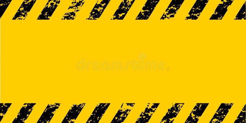Listras diagonais pretas amarelas de advertência do grunge do quadro, a textura do grunge do vetor adverte o cuidado, construção, ilustração royalty free