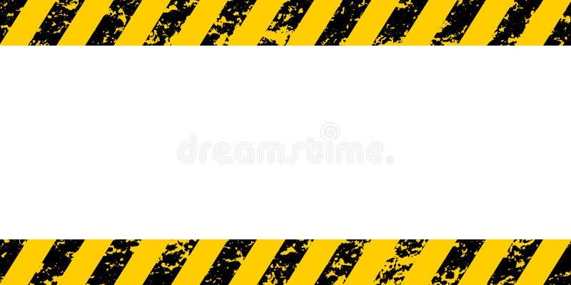 Listras diagonais pretas amarelas de advertência do quadro, a textura do grunge do vetor adverte o cuidado, construção, fundo do  ilustração royalty free
